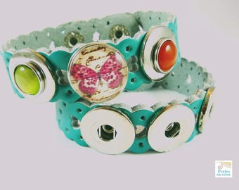 1 CHUNK turquoise leather bracelet to customize (CH3)
