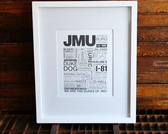 JMU Letterpress Print (Black Ink on White Paper)