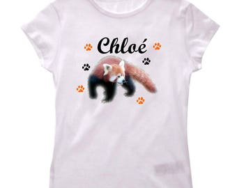 Personalized with name Red Panda girl t-shirt