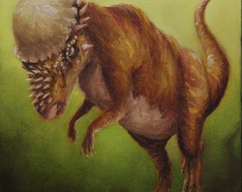 "10x10"" Original Oil Painting - Pachycephalosaurus Headbutting Dinosaur Wall Art"