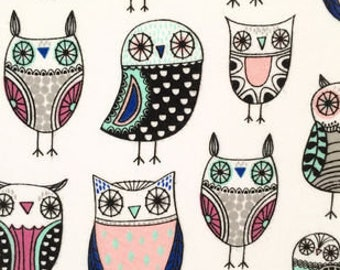 1 Set of Doodles Cotton Owl Print, Car  Seat Covers and  steering wheel cover custom made.
