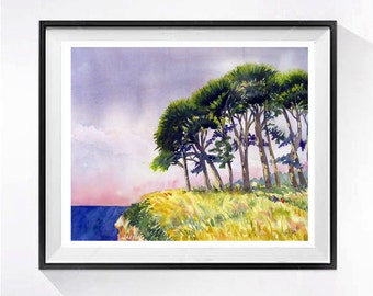 Forest Woods Original Watercolor Original tree landscape painting  Ocean beach Shore painting green painting WatercolorByMuren