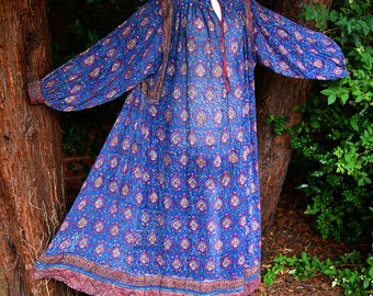 Rare 70's Anokhi INDIAN Hand Block Print Cotton GAUZE Hippie BOHO Romantic Wedding Poet Festival Kaftan Vintage Dress One Size