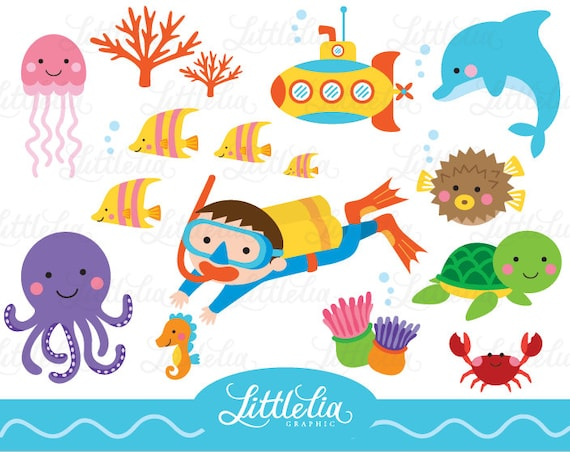 Underwater clipart Sea friend clipart fish clipart