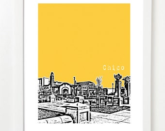 Chico California Skyline Poster - Chico City Art Print - Chico CA Gifts