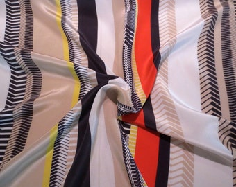 White Black and Red Classy Tailored Stripe Pure Silk Crepe de Chine Fabric--By the Yard