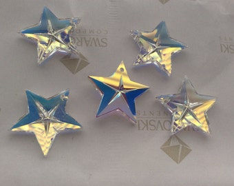 2 pieces Vintage Swarovski #6716 20mm Crystal Clear AB Star Faceted Pendants Beads