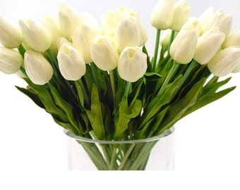 Stemple's 2 Dozen White Real Touch Tulips