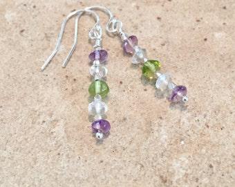 Purple drop earrings, amethyst earrings, peridot earrings, crystal quartz earrings, Hill Tribe silver earrings, sundance style earrings