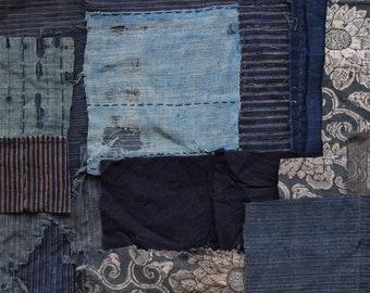 Boro remnant, Sashiko, Indigo fabric, Japanese textile, Japanese fabric, vintage Kimono fabric, 20 PIECES /E