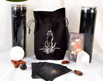 NEW*** Cat and Skulls - All Natural Cotton Velvet and Silk Tarot, Oracle, or Crystal bag