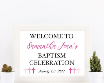 Baptism Welcome Door or Table Sign - Customizable Text and Colors - Ombre Cross Theme  - Printable - 8.5x11 Digital Download