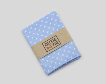 Light Blue Polka Dots Handkerchiefs Bow Tie And Pocket Square Set Groomsmen Outfit