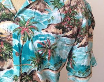 Vintage MENS Hawaiian Flavor oversized short sleeve Hawaiian shirt