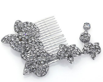 Hand Made Hair Jewelry swarovski crystal Flowers Hair Comb, White Rhinestone(AZYS010-CL)