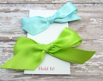 Blue & Green Ponytail Bow Elastic, Girls Ponytail Elastic, Bow Ponytail Holder, Womens Pontail Holder,  Hair Tie, Set of 3