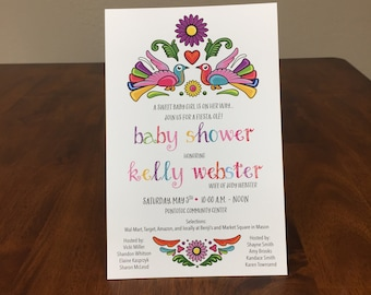 Qty. 25 Baby Shower Invitations Mexican Themed Girl Baby Shower Invites Cinco de Mayo Baby Girl Shower Invitation Colorful Mexican Shower