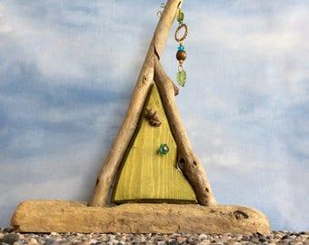 Lime Green Beachcomber Fairy Door with Wish Catcher
