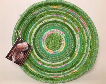 Fabric Bowl - Coiled Rope Basket - Clothesline Basket - Rag Basket - Fiber