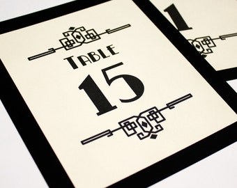 Deco Craftsman Table Number Wedding Decor Sign Custom Art Gatsby Roaring Twenties Classic Historical Reception Special Event
