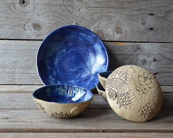 Set of Five stoneware dishes in rustic blue - one medium and four small - MADE TO ORDER  - Stoneware (grès) Plate