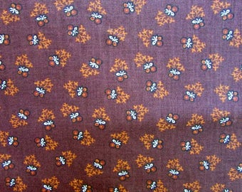 Cotton Fabric, 1 Yard Length Civil War Pattern Small Figure Cotton in Earth Tones, Browns, Red, Antique Victorian Look Cotton