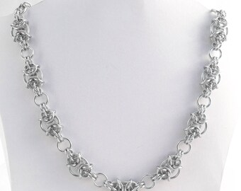 Chainmaille Necklace - Silver Anodised Aluminium