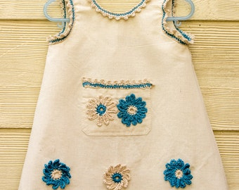 SEWING PATTERN, Girls Pinafore Dress Pattern,Toddler Dress Pattern, Crochet Picot Trim, Crochet Flower Appliqué, Sizes 1, 2, 3, PDF