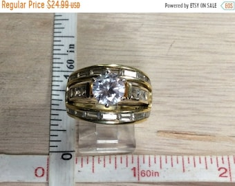 10%OFF3DAYSALE Vintage 925 Sterling Silver 10.7g Gold Washed Cz Ring Size 7 Used