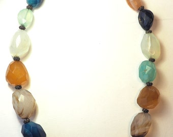Amazing vintage artisan hand made huge colorful chunky gem stone necklace