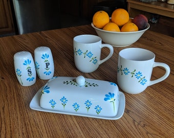 Modern Kitchen Table Decor, Kitchen Set with Mugs, Scandi Kitchen Decor, Ceramic Butter Dish, Minimalist Design, Teal Kitchen Decor