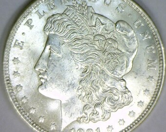 1921 Morgan Dollar; Choice BU; Frosty White