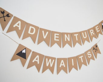 ADVENTURE AWAITS Bunting, Nursey Decor, Kids Childrens Room, Farewell, Wild Banner, Boho, Skandi Decoration, Mountains, Arrows, Camping