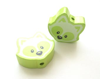 Lime green Fox head wooden bead