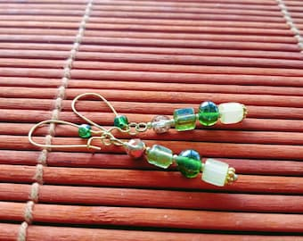 Iridescent 'Flashing Lights' Vintage Czech Glass and Polished Quartz Bead Earrings in Gold Brass -  One of a Kind!