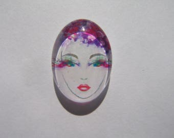 Cabochon 18 X 13 mm oval with the image of woman face purple