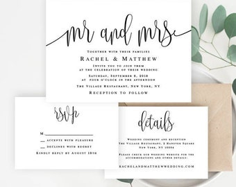Invitation wedding template Mr and Mrs invitation suite template DIY Wedding invitation set Wedding invitation downloadable templates #vm41