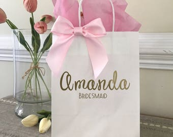 Custom Wedding Name Gift Bag, Personalized Gift Bag, Wedding Party Bag, Favor, Handcrafted in 2-5 Business Days, Bridesmaid Gift Idea