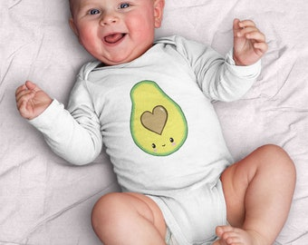 Kawaii Avocado Infant Bodysuit (baby shower gift, gift for baby, kawaii, avocado, cute, baby, heart, love, food, yum, vegan) Kathrin Legg