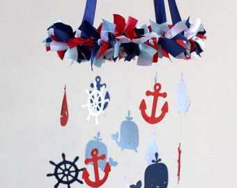 Nautical Nursery Mobile in Red, Navy, Baby Blue & White-Baby Mobile, Baby Shower Gift