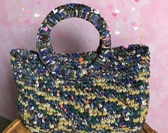 Handmade crocheted tulle bag with hard bottom, handles and lining