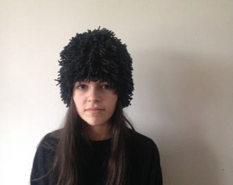 Knitted Fringe Hat. Knitted Wig. Clothing gift. Chunky knit. Graphite. Handmade