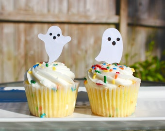 Set of 12 Halloween Ghost Cupcake Toppers
