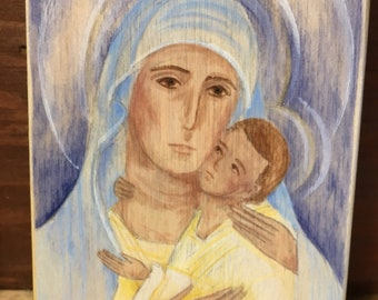 Tender Mother Hand Painted Wood Block READY TO SHIP