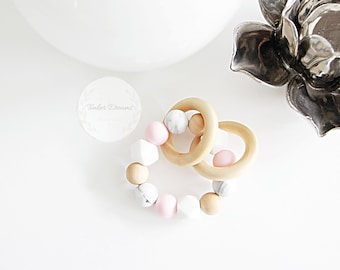 Petite Pink, Marble, White & Wooden baby teether, teething ring, teething toy, silicone teether, baby gift, baby shower gift, modern baby