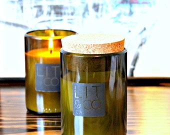 Lemongrass & Green Tea Natural Soy Candle 10oz Wine Jar - Optional Cork Top