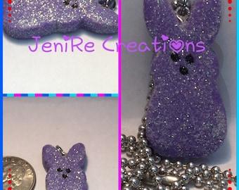 Easter Bunny Peep Polymer Clay Handmade Charm Necklace kawaii / purple