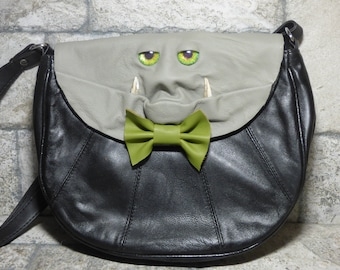Cross Body Adjustable Purse With Face Monster Black Leather Unique Gift 444