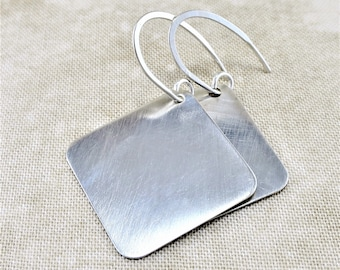 Silver Earrings ~ Geometric Earrings ~ Small Drop Earrings ~ Square Earrings ~ Dangle Earrings ~ Minimalist Earrings ~ Lightweight Earrings