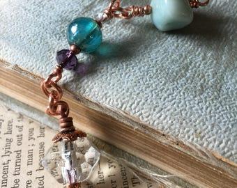 Amazonite Antique Clear Pressed Glass and Copper Purple Pendulum